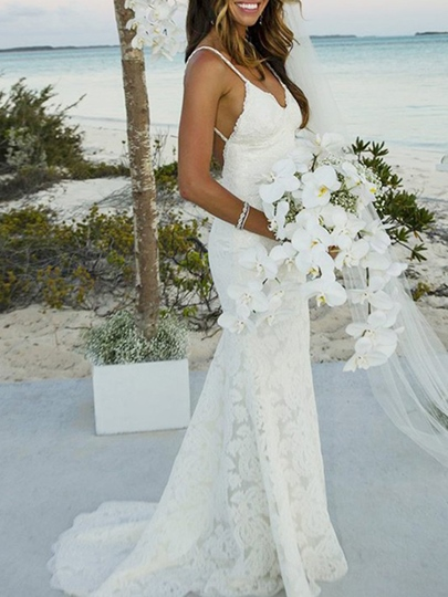Spaghetti Straps Backless Mermaid Lace Beach Wedding Dress 2019 Spaghetti Straps Backless Mermaid Lace Beach Wedding Dress 2019