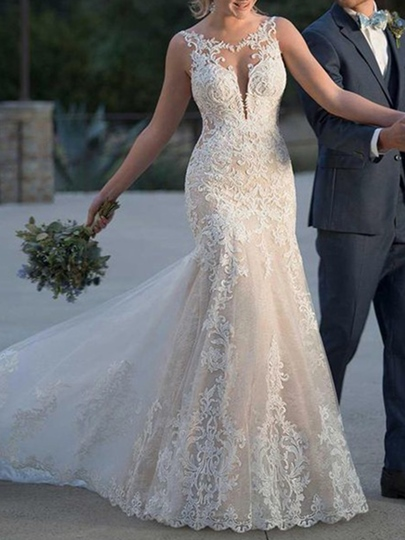 Mermaid Scoop Neck Appliques Church Wedding Dress 2019 Mermaid Scoop Neck Appliques Church Wedding Dress 2019