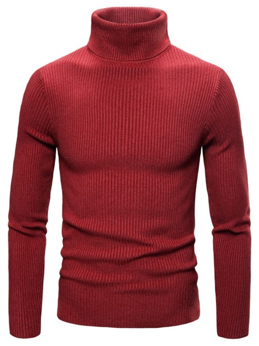 Plain Thread Standard Turtleneck Slim Men's Sweater
