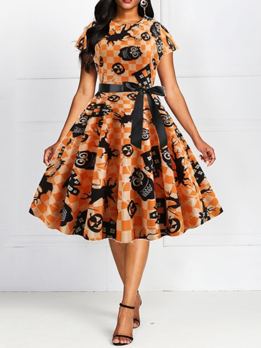 Halloween Costume Round Neck Mid-Calf Short Sleeve Print Women's Party Dress