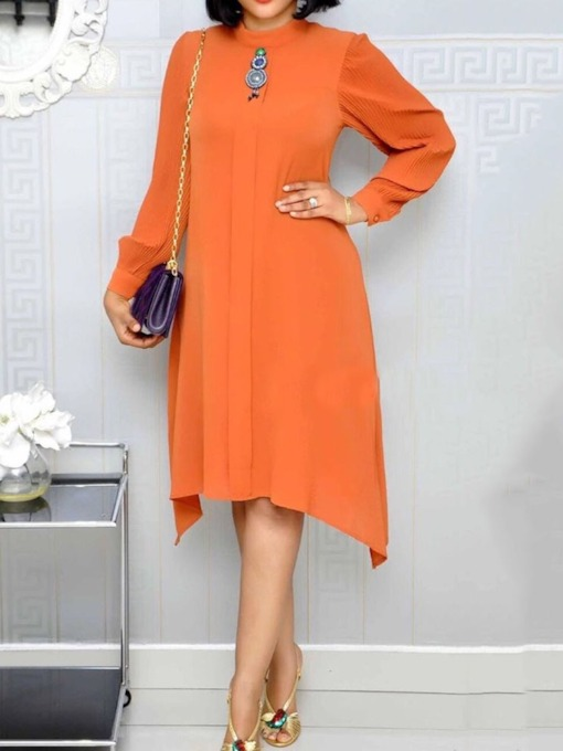 Mid-Calf Asymmetric Stand Collar Long Sleeve Fall Women's Day Dress