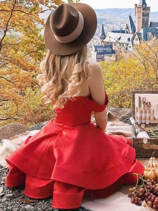 A-Line Knee-Length Off-The-Shoulder Red Homecoming Dress