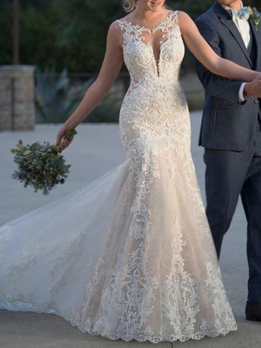 Mermaid Scoop Neck Appliques Church Wedding Dress 2019