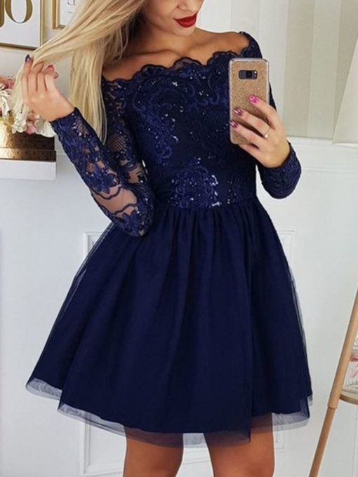 Off-The-Shoulder Appliques Long Sleeves Homecoming Dress 2019