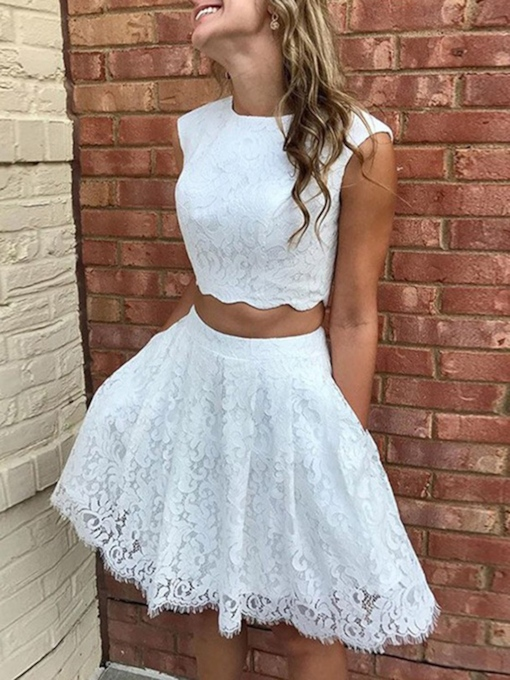 Two Pieces Jewel Neck Short Lace Cocktail Dress 2019