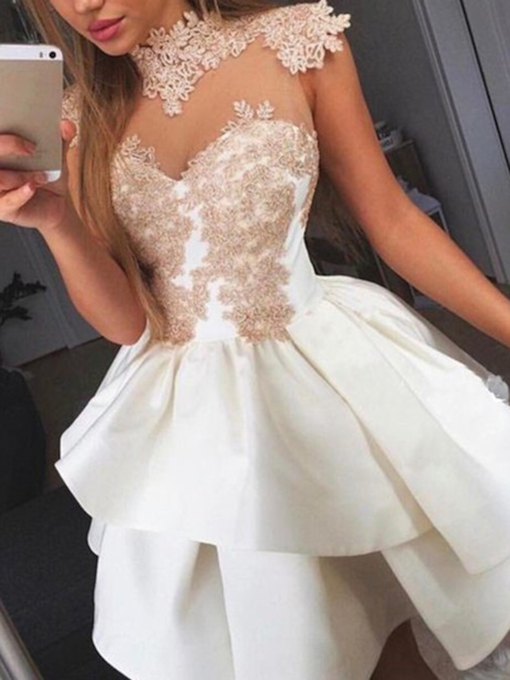 Cap Sleeves High Neck Appliques Cocktail Dress 2019