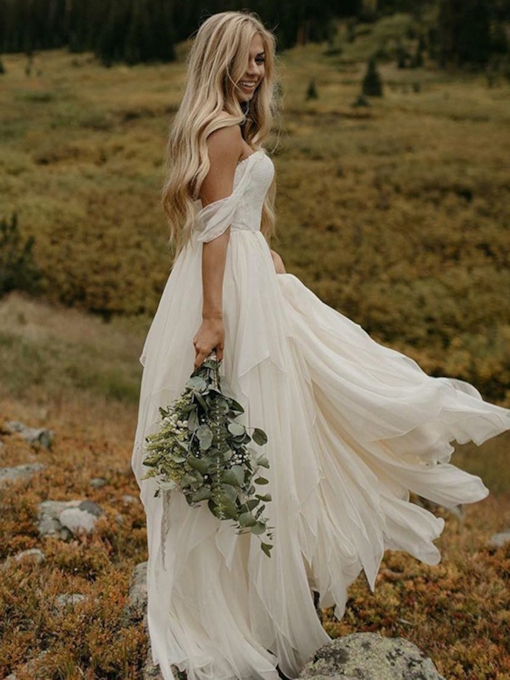 Off-The-Shoulder A-Line Ruched Country Wedding Dress 2019