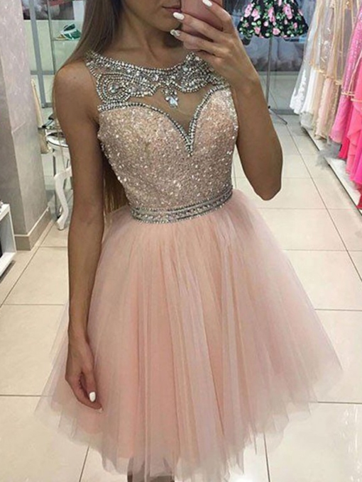 Scoop Neck Sequins Beading Pink Cocktail Dress 2019