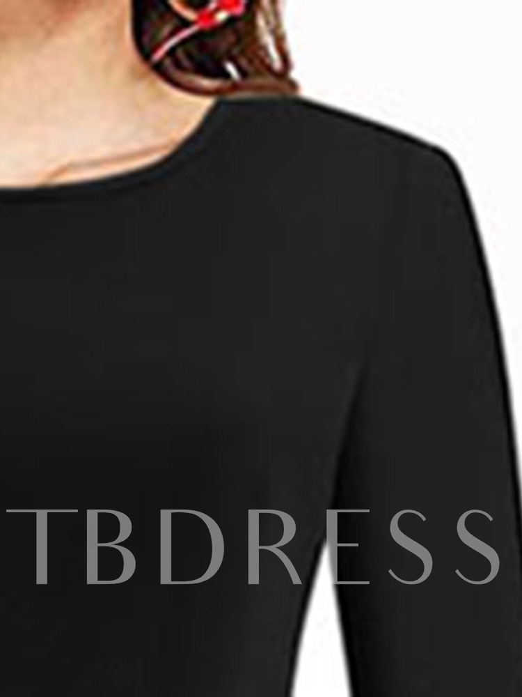 Round Neck Mid-Calf Lace-Up Fashion Women's Long Sleeve Dress