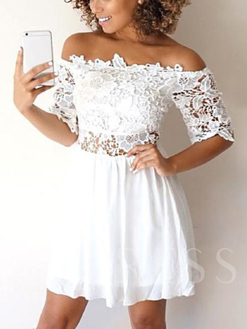 Short Sleeves Lace Off-The-Shoulder White Homecoming Dress 2019