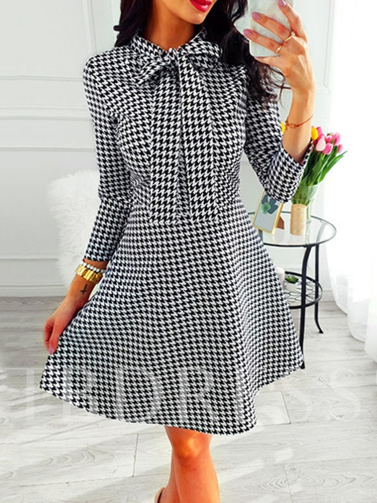 Bow Collar Three-Quarter Sleeve Bowknot A-Line Women's Day Dress