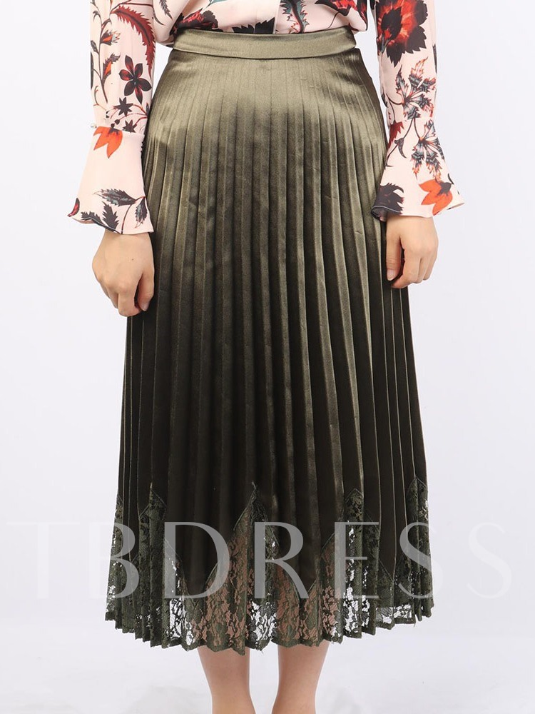 Patchwork Plain Pleated Mid-Calf Casual Women's Skirt