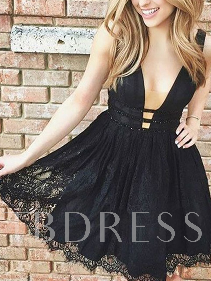 Deep V-Neck Beading Lace Black Homecoming Dress 2019