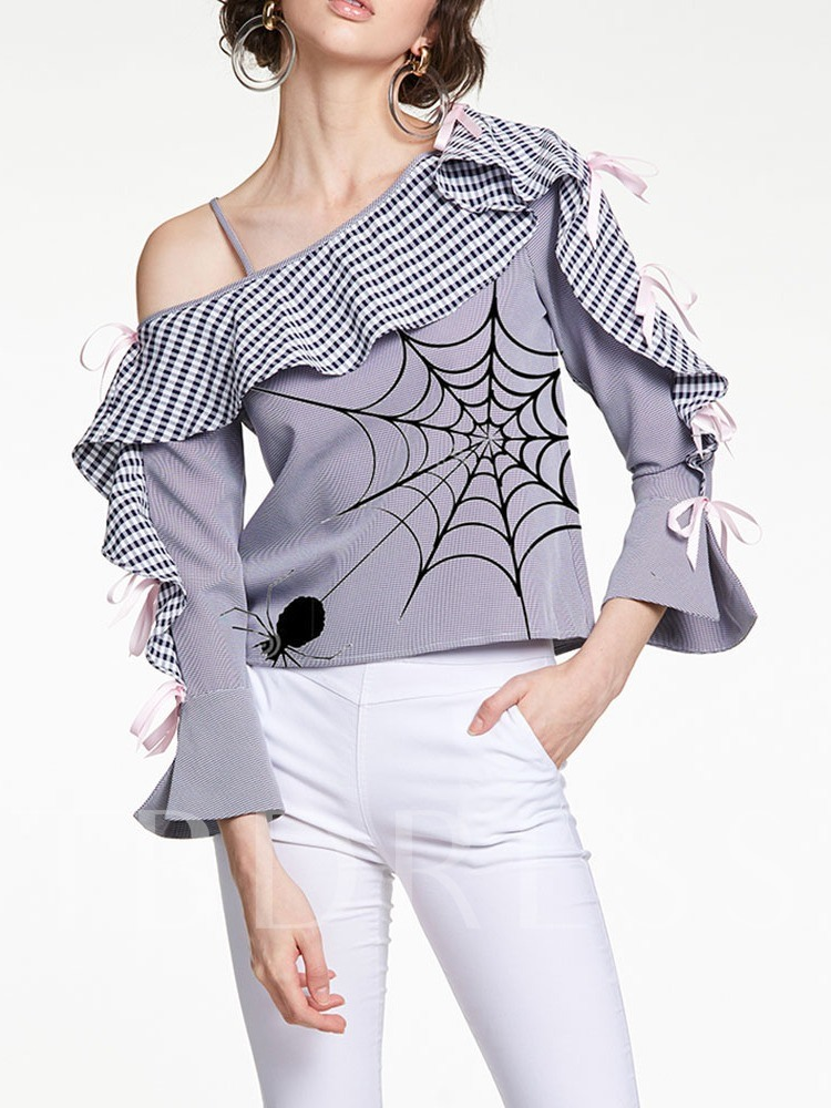 Halloween Costume Print Oblique Collar Stripe Nine Points Sleeve Women's Blouse