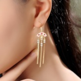 Alloy Ethnic Diamante Party Drop Earrings
