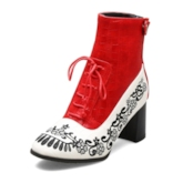 Stone Pattern Chunky Heel Round Toe Lace-Up Front Ankle Boots