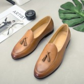 Tassel Slip-On Plain PU Leather Shoes for Men