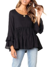 Round Neck Plain Flare Sleeve Mid-Length Women's Blouse
