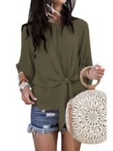 Regular Plain Lace-Up Round Neck Three-Quarter Sleeve Women's Blouse