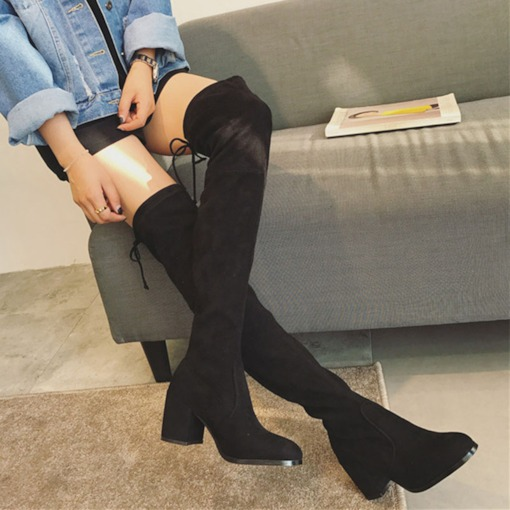 Plain Chunky Heel Lace-Up Back Round Toe Thigh High Boots