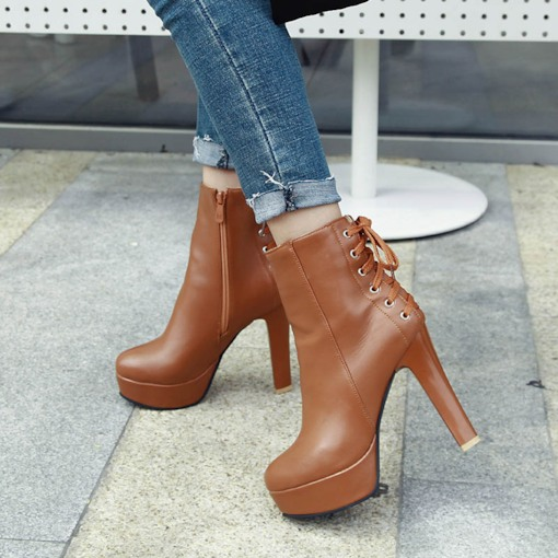 Plain Side Zipper Round Toe Cross Strap Back Ankle Boots
