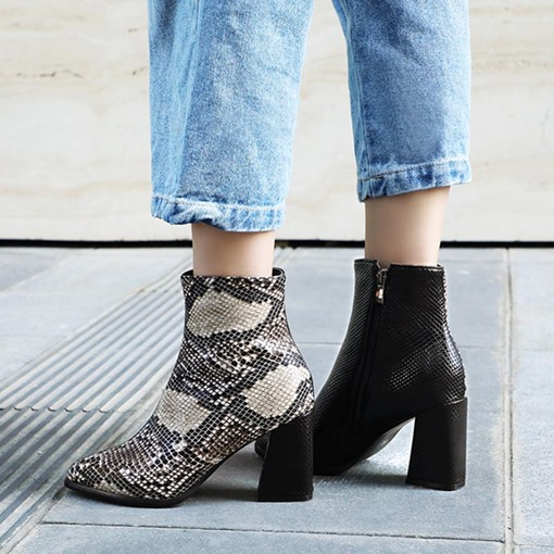 Serpentine Side Zipper Square Toe Chunky Heel Ankle Boots