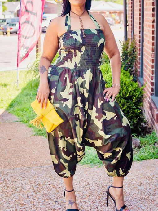 Fashion Print Mid-Calf Camouflage Loose Women's Jumpsuit