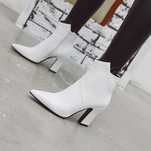 Side Zipper Pointed Toe Chunky Heel Plain Buckle Ankle Boots