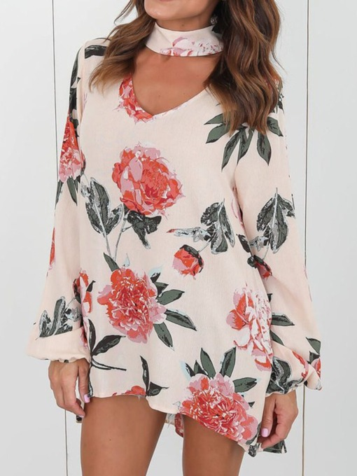 Print Plant V-Neck Regular Mid-Length Women's Blouse