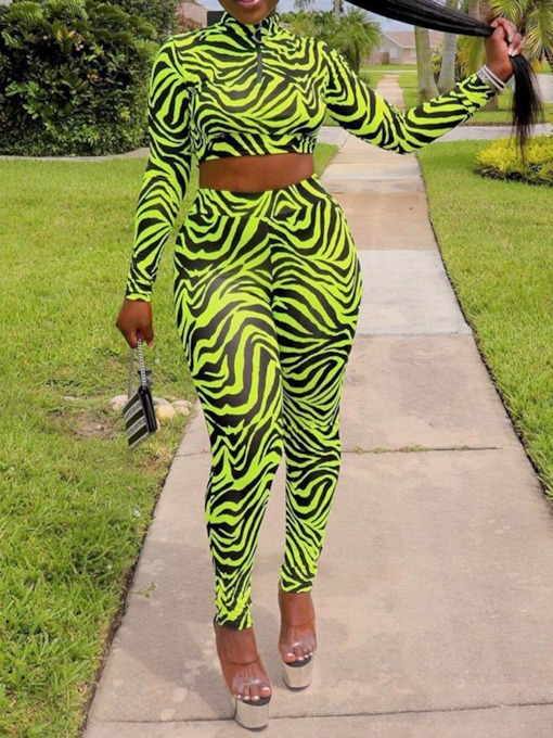 Fashion Zipper Zebra Stripe Women's Two Piece Sets