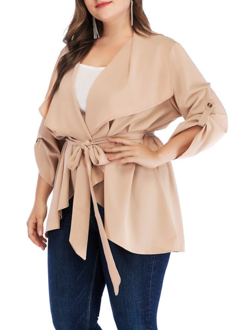 Plus Size Mid-Length Lace-Up Nine Points Sleeve Women's Trench Coat