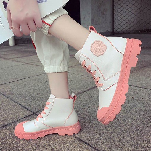 Color Block Block Heel Round Toe Lace-Up Front Martin Boots