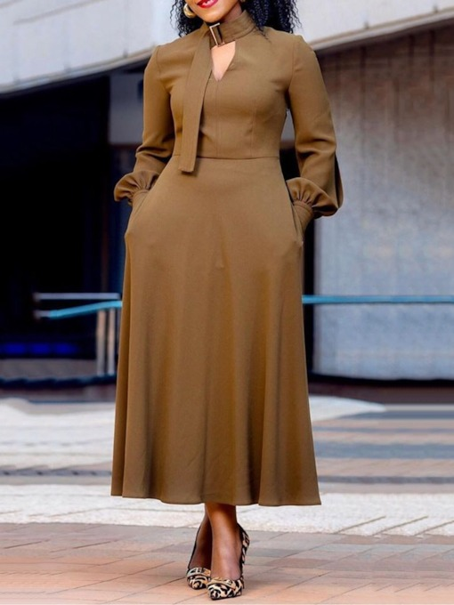 Long Sleeve Stand Collar Mid-Calf A-Line Women's Maxi Dress
