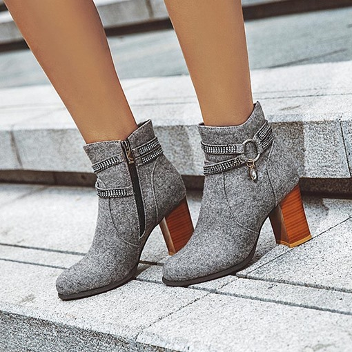Pointed Toe Chunky Heel Side Zipper Fashion Ankle Boots