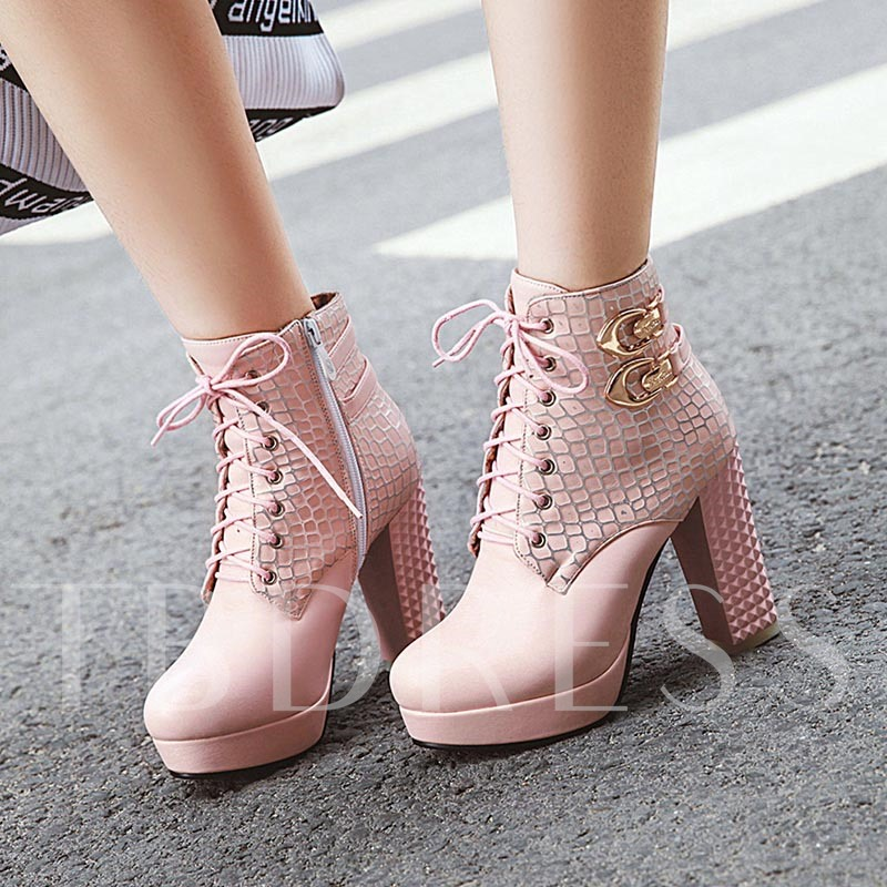 Round Toe Chunky Heel Side Zipper Platform Ankle Boots