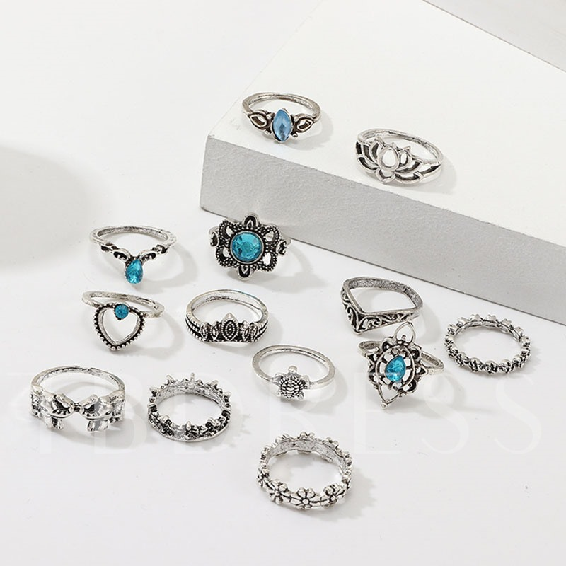 European Diamante Alloy Gift Rings Set