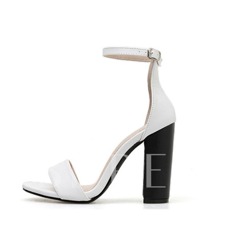 Line-Style Buckle Open Toe Chunky Heel Heel Covering Plain Sandals
