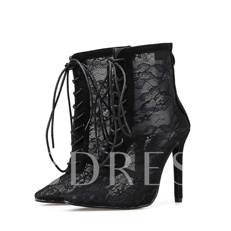 Pointed Toe Back Zip Plain Stiletto Heel Mesh Sexy Ankle Boots