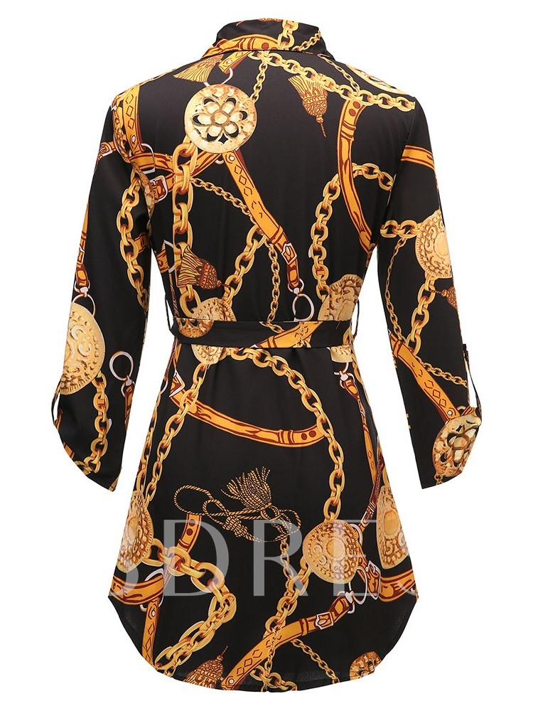 Lapel Geometric Regular Print Long Sleeve Women's Blouse
