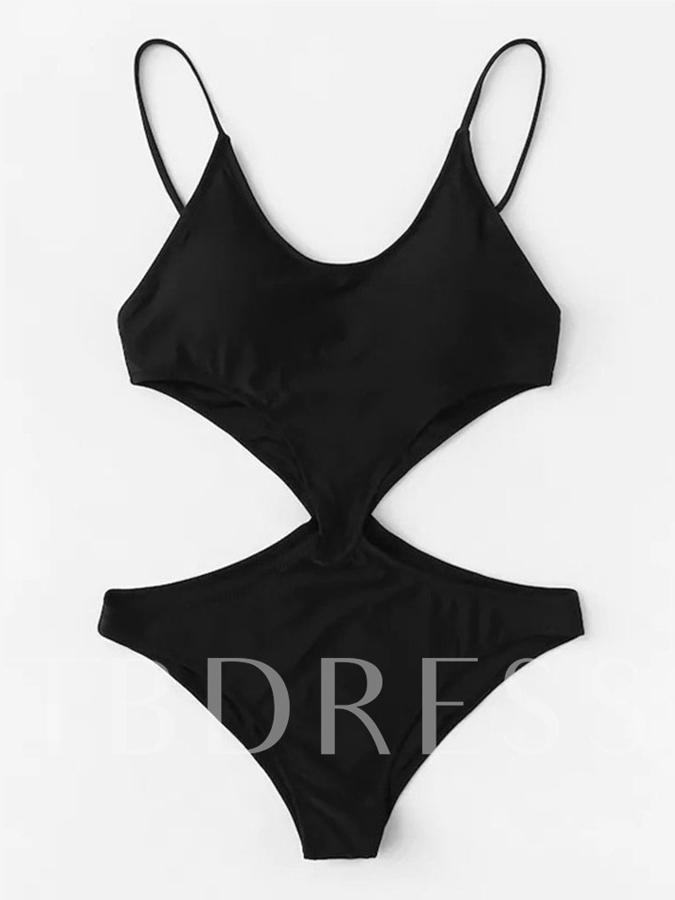 Plain Sexy One Piece Show-waisted Women's Swimwear