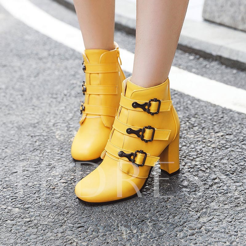 Side Zipper Square Toe Chunky Heel Buckle Ankle Boots