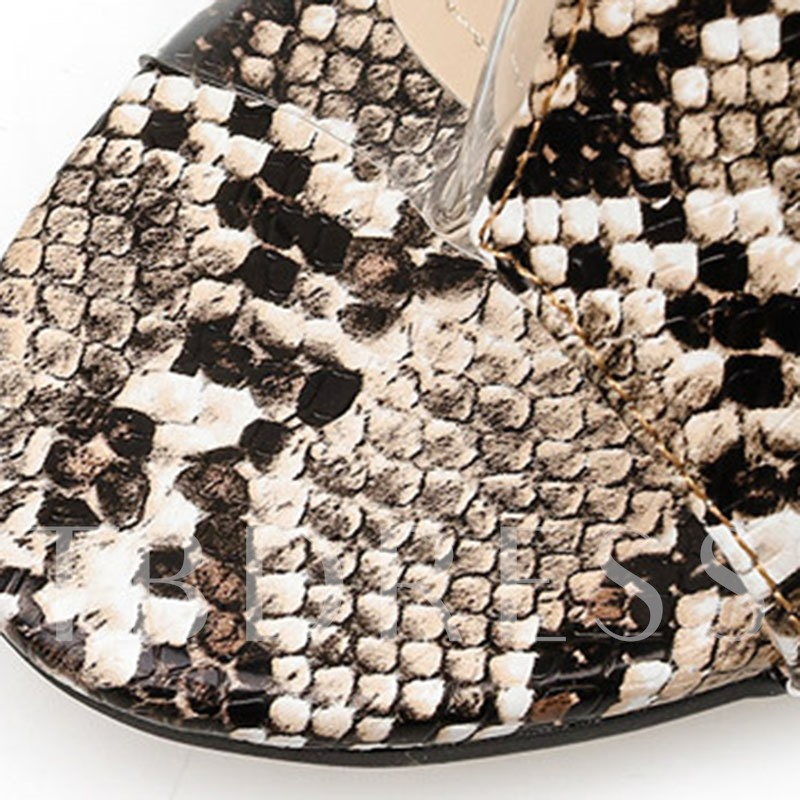 See-Through Chunky Heel Slip-On Patchwork Sandals