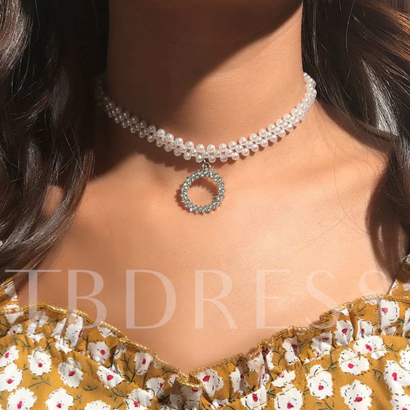 European Diamante Pearl Pendant Necklace
