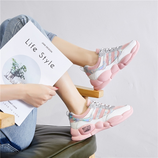 Fluorescent Color Lace-Up Low-Cut Upper Round Toe Flat With Sneakers