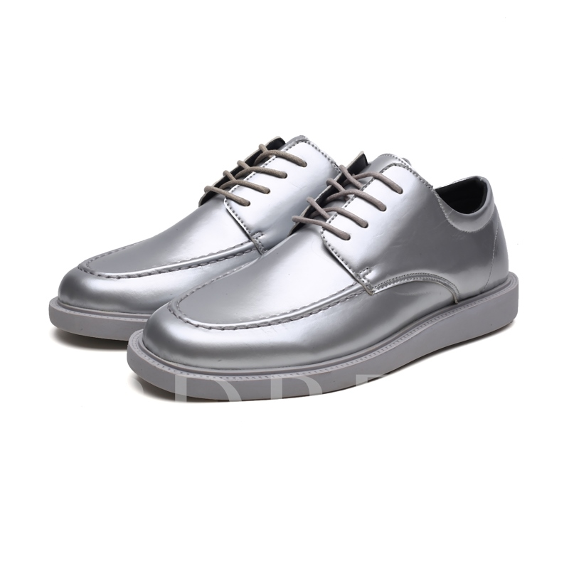Metallic Low-Cut Upper Round Toe Men's Casual Shoes