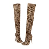 Side Zipper Leopard Stiletto Heel Pointed Toe Thigh High Boots
