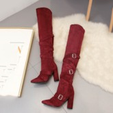 Pointed Toe Plain Hasp Chunky Heel Cotton Thigh High Boots