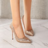 Sequin Pointed Toe Slip-On Stiletto Heel Banquet Pumps