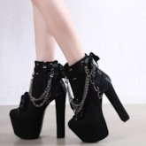 Chain Side Zipper Chunky Heel Round Toe Ankle Boots