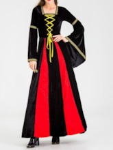 Long Sleeve Western Patchwork Color Block Polyester Women's Costumes